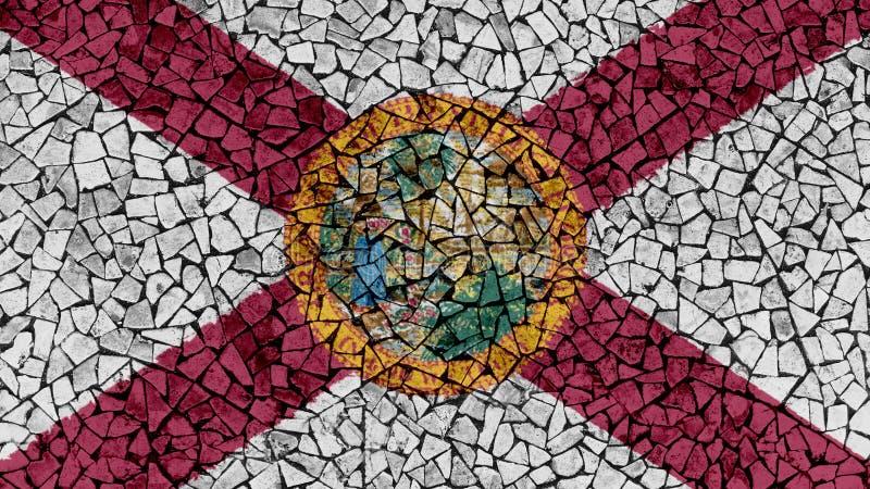 Ζωγραφική κεραμιδιών μωσαϊκών της σημαίας της Φλώριδας ελεύθερη απεικόνιση δικαιώματος