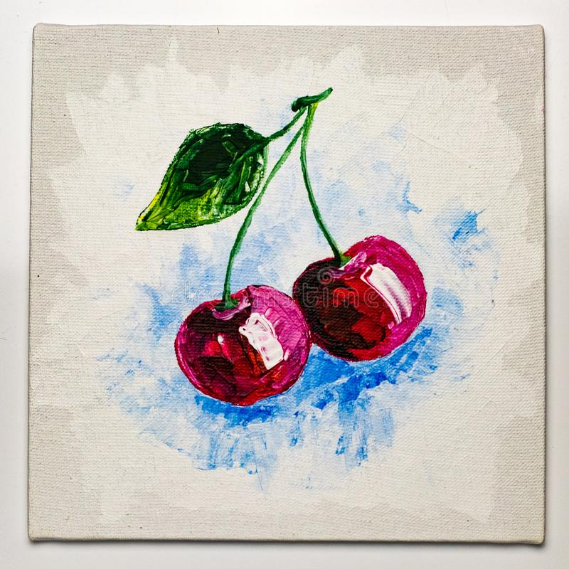 Ζωγραφική κερασιών στο καφετί τραχύ υπόβαθρο σάκων στοκ φωτογραφίες με δικαίωμα ελεύθερης χρήσης