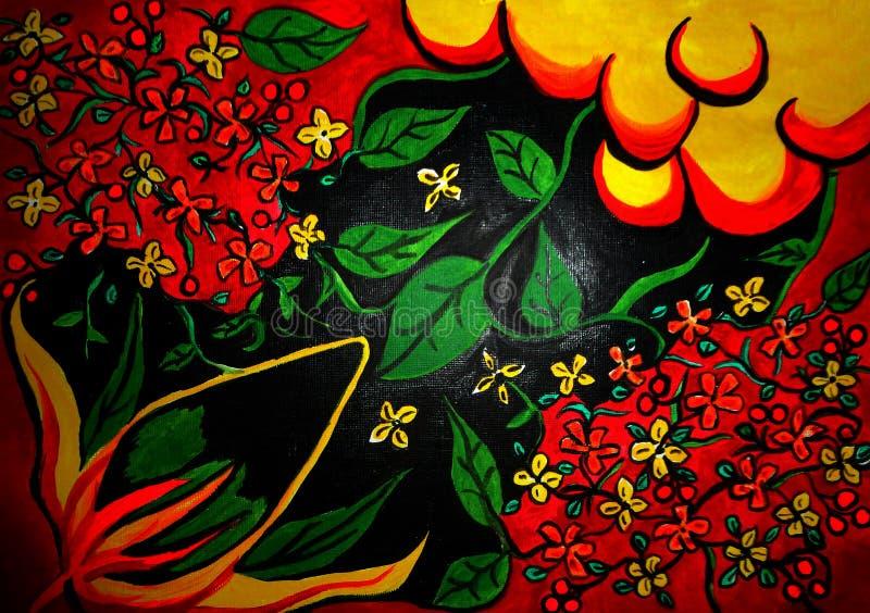 Ζωγραφική λουλουδιών δημιουργημένο στο καμβάς σχέδιο υποβάθρου στοκ εικόνες με δικαίωμα ελεύθερης χρήσης