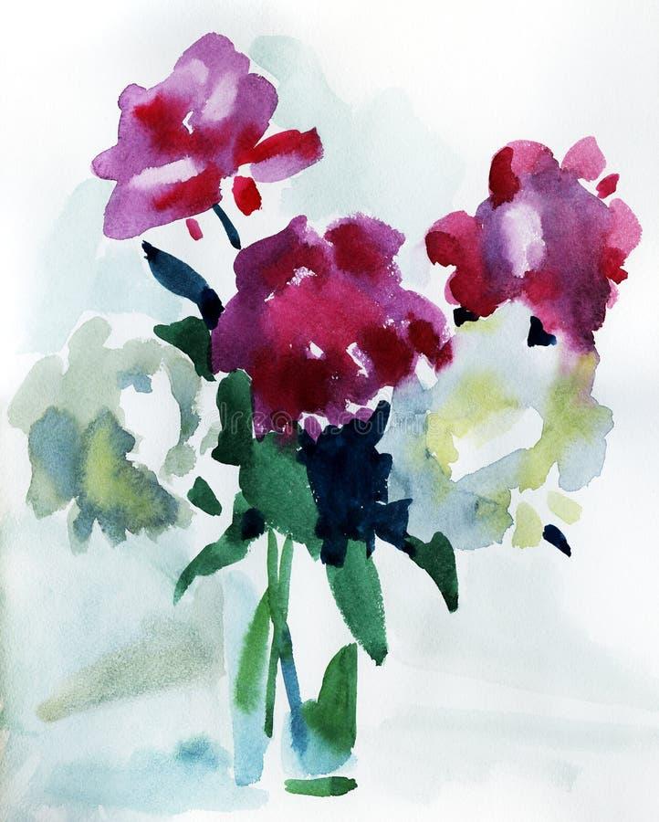 ζωγραφική λουλουδιών διανυσματική απεικόνιση