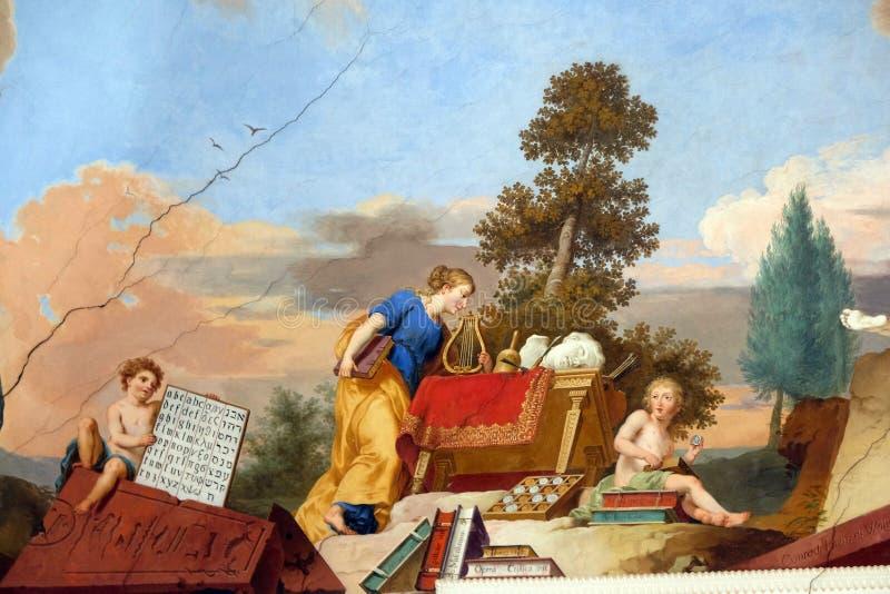 Ζωγραφική νωπογραφίας στο ανώτατο όριο της βιβλιοθήκης Benedictine Amorbach στο αβαείο, Γερμανία στοκ φωτογραφία με δικαίωμα ελεύθερης χρήσης