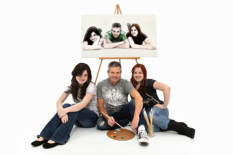 Ζωγραφική οικογενειακού πορτρέτου κορών πατέρων στοκ φωτογραφία