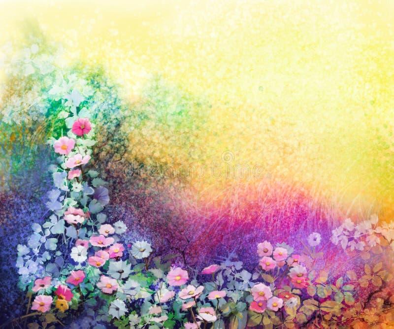 Ζωγραφική λουλουδιών Watercolor Το χέρι χρωμάτισε τα άσπρα, κίτρινα και κόκκινα λουλούδια κισσών απεικόνιση αποθεμάτων