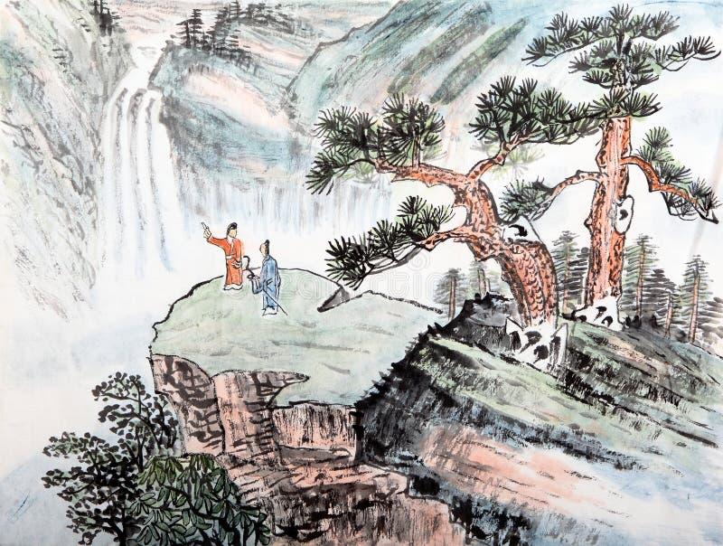 Ζωγραφική παραδοσιακού κινέζικου, τοπίο στοκ φωτογραφία με δικαίωμα ελεύθερης χρήσης
