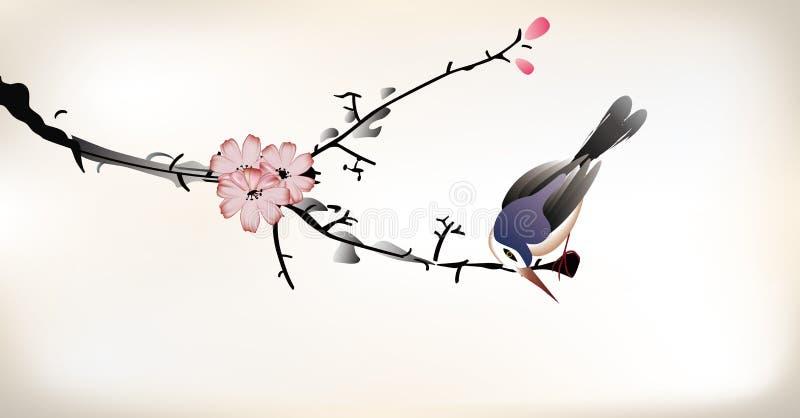 Ζωγραφική πουλιών διανυσματική απεικόνιση