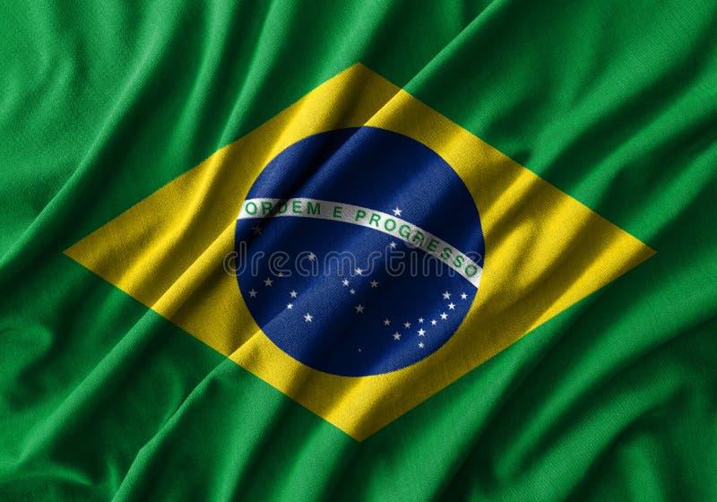 Ζωγραφική σημαιών της Βραζιλίας στην υψηλή λεπτομέρεια των υφασμάτων βαμβακιού κυμάτων στοκ φωτογραφία με δικαίωμα ελεύθερης χρήσης