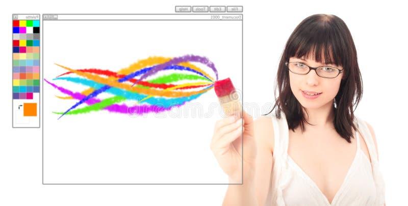 Ζωγραφική σχεδιαστών με μια ψηφιακή βούρτσα στοκ φωτογραφία με δικαίωμα ελεύθερης χρήσης