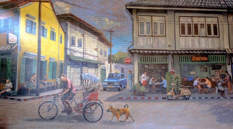Ζωγραφική ΤΕΧΝΗΣ ΟΔΩΝ στον ευτυχή αγροτικό ταϊλανδικό τρόπο ζωής ι τοίχων στοκ φωτογραφία