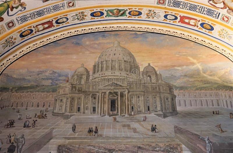 Ζωγραφική της βασιλικής του ST Peter στα μουσεία Βατικάνου στοκ εικόνες με δικαίωμα ελεύθερης χρήσης