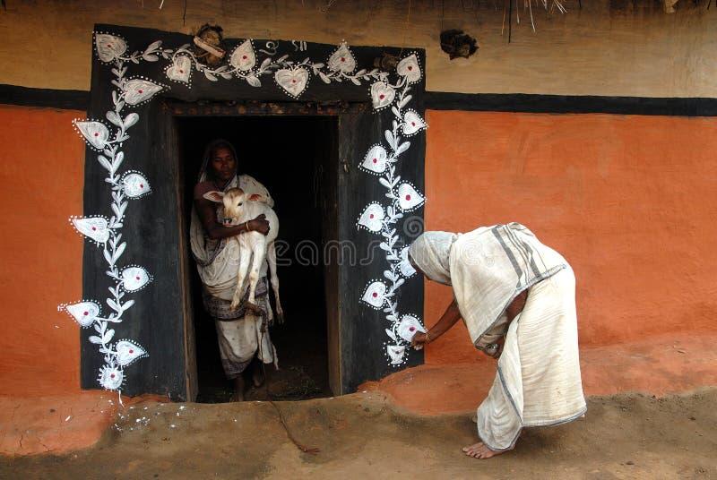 ζωγραφική της Ινδίας φυλ&ep στοκ εικόνα με δικαίωμα ελεύθερης χρήσης
