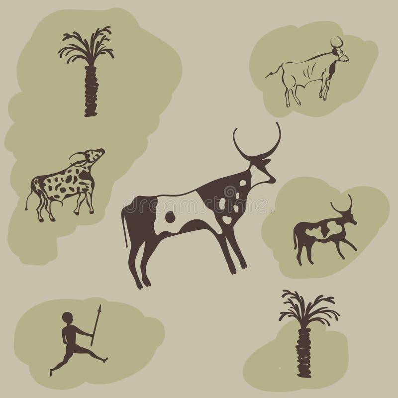 Ζωγραφική της σκηνής κυνηγιού σε έναν τοίχο σπηλιών απεικόνιση αποθεμάτων