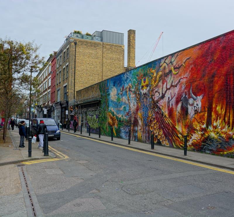 Ζωγραφική τοίχου εξωτερικού χώρου της Forest Fire Τέχνη του δρόμου στοκ εικόνες με δικαίωμα ελεύθερης χρήσης