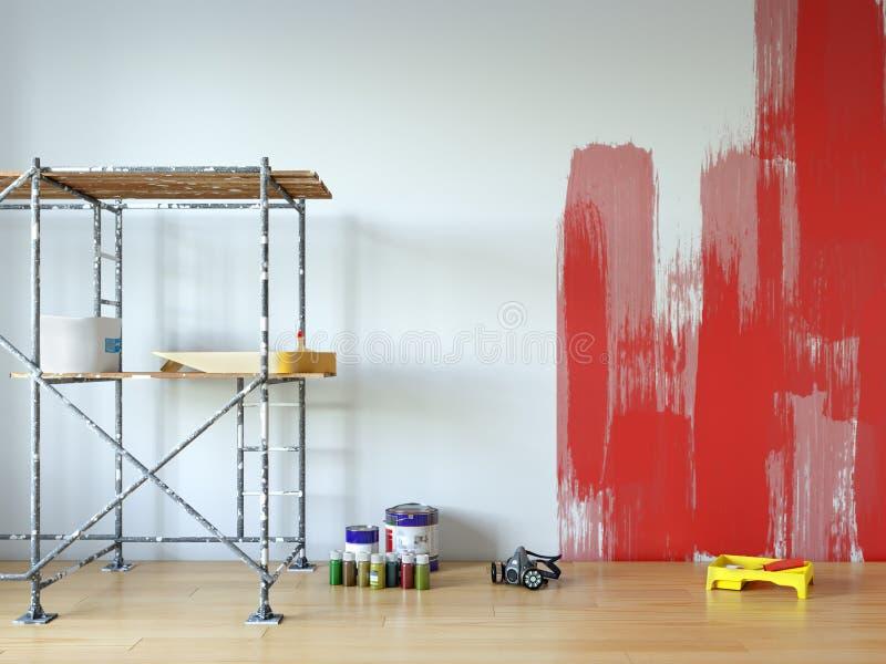 Ζωγραφική τοίχων, επισκευή δωματίων διανυσματική απεικόνιση