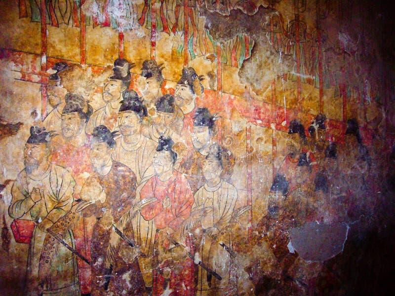Ζωγραφική τοίχων στον τάφο του διαδόχου του θρόνου Yide, γιος του αυτοκράτορα Zhongzong στη δυναστεία του Tang, Xian, Κίνα στοκ εικόνες