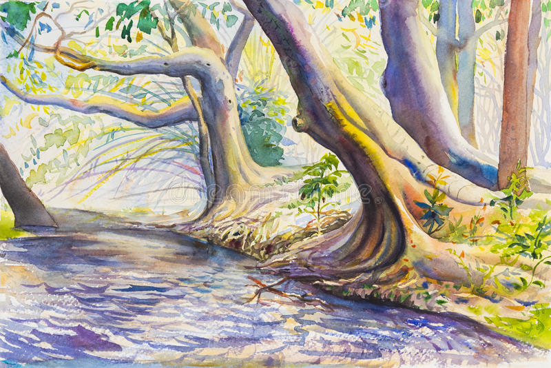 Ζωγραφική τοπίων Watercolor ζωηρόχρωμη του δέντρου και του ποταμού διανυσματική απεικόνιση