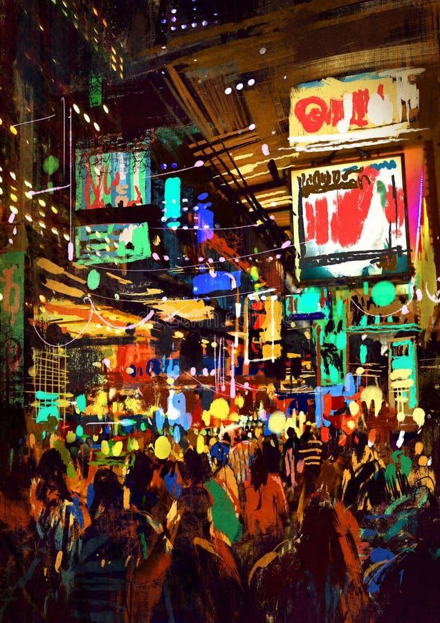 Ζωγραφική του πλήθους των ανθρώπων στην οδό νύχτας απεικόνιση αποθεμάτων