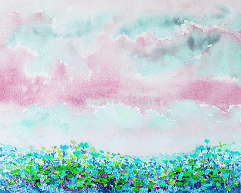 Ζωγραφική των λουλουδιών watercolor των λουλουδιών μαργαριτών διανυσματική απεικόνιση