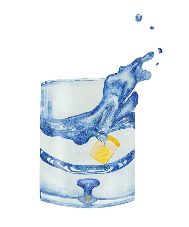 Ζωγραφική χεριών Watercolor του γυαλιού νερού με το λεμόνι κομματιού που απομονώνεται στο άσπρο υπόβαθρο στοκ φωτογραφία