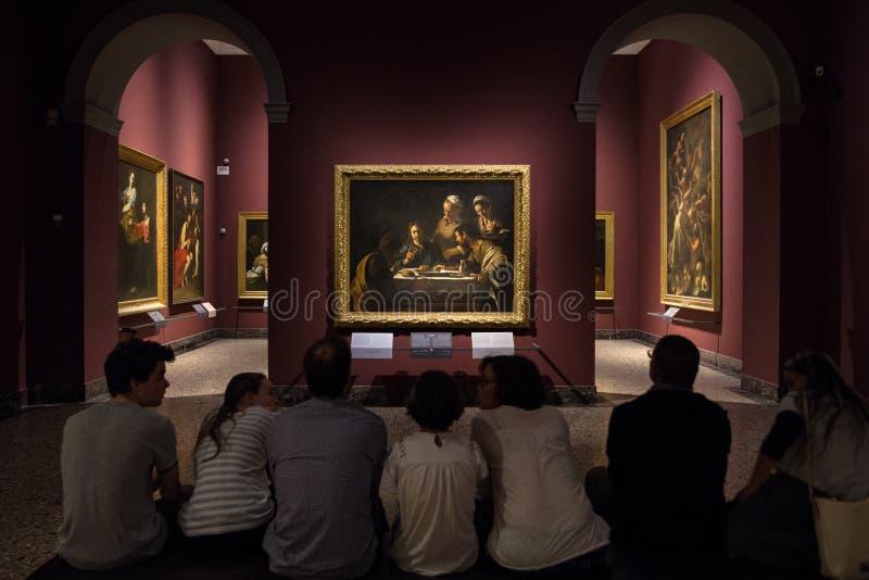 Ζωγραφική Caravaggio στο γκαλερί τέχνης Brera, Μιλάνο στοκ εικόνες