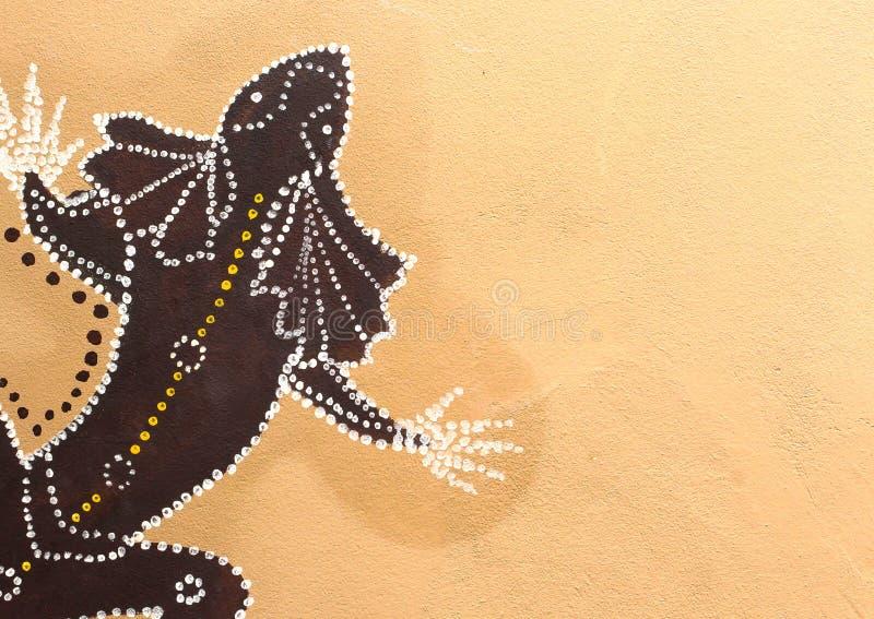Ζωγραφική Gecko στη αριστερή πλευρά του τοίχου στοκ εικόνες