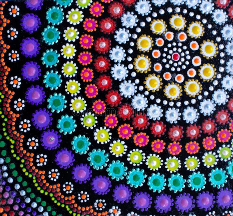 Ζωγραφική, mandala, διαφορετικά φωτεινά χρώματα διανυσματική απεικόνιση