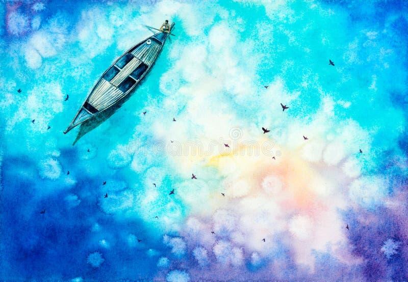 Ζωγραφική Watercolor - αλιεύοντας άτομο στη λίμνη διανυσματική απεικόνιση
