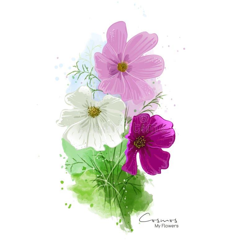 Ζωγραφική watercolor λουλουδιών κόσμου διανυσματική απεικόνιση