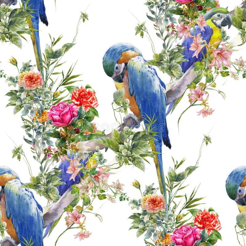 Ζωγραφική Watercolor με τα πουλιά και τα λουλούδια, άνευ ραφής σχέδιο στην άσπρη απεικόνιση υποβάθρου απεικόνιση αποθεμάτων