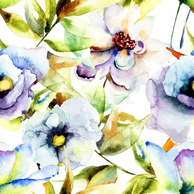 Ζωγραφική Watercolor με τα όμορφα μπλε λουλούδια ελεύθερη απεικόνιση δικαιώματος
