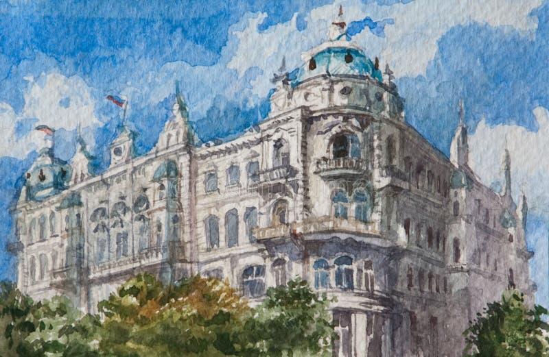 Ζωγραφική Watercolor σε χαρτί, σύγχρονο έργο τέχνης, ευρωπαϊκή πόλη, έννοια Watercolor Έννοια αρχιτεκτονικής διανυσματική απεικόνιση