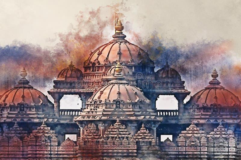 Ζωγραφική Watercolor της πρόσοψης ενός ναού Akshardham στο Δελχί, Ινδία απεικόνιση αποθεμάτων