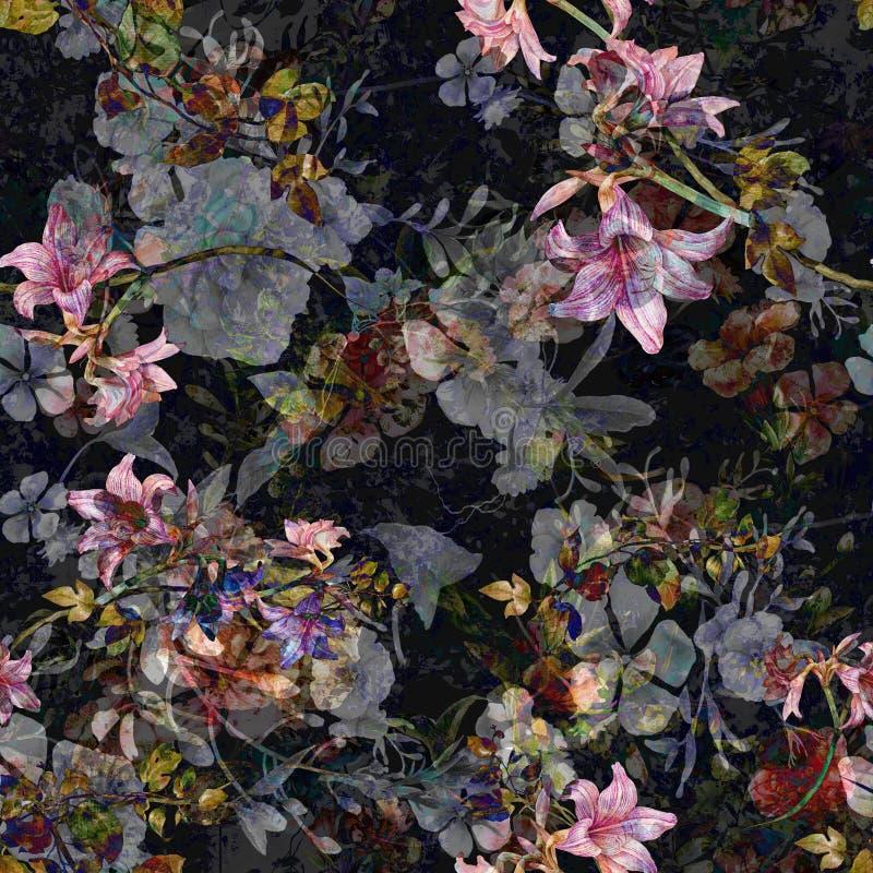 Ζωγραφική Watercolor του φύλλου και των λουλουδιών, άνευ ραφής σχέδιο στο σκοτάδι ελεύθερη απεικόνιση δικαιώματος