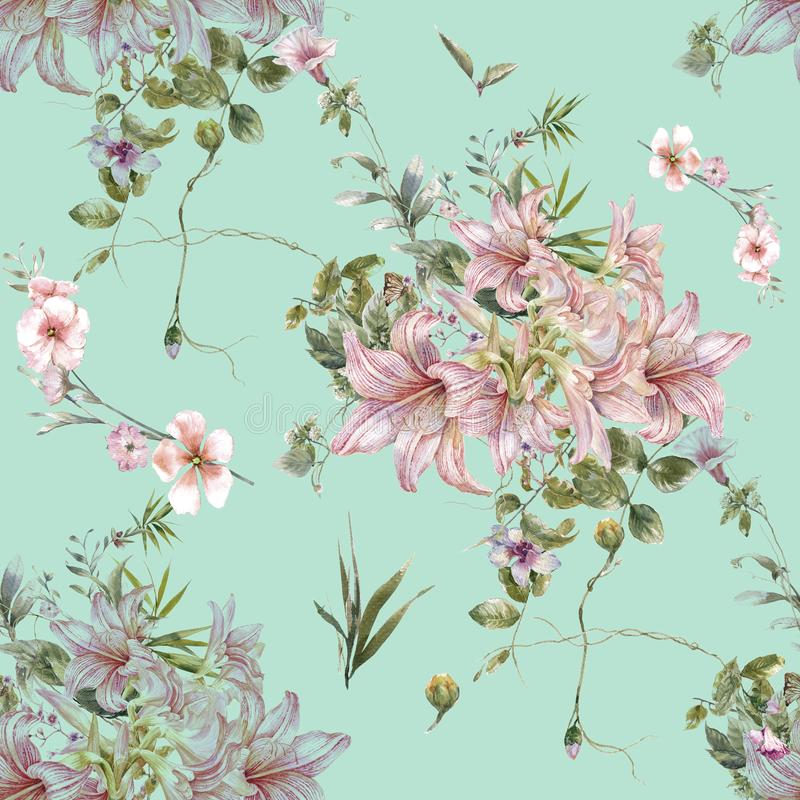 Ζωγραφική Watercolor του φύλλου και των λουλουδιών, άνευ ραφής σχέδιο στο μπλε απεικόνιση αποθεμάτων