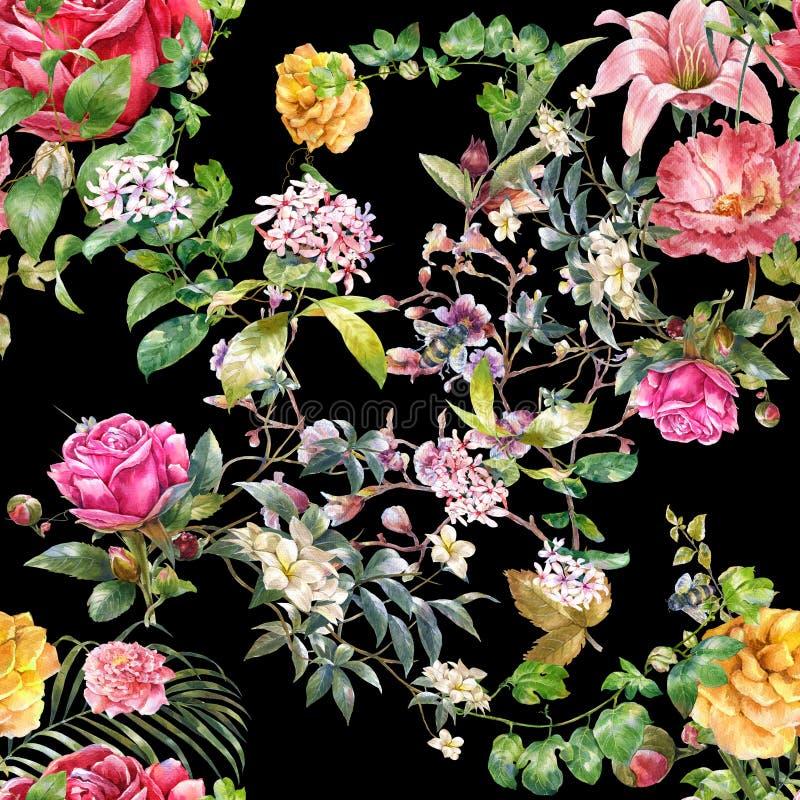 Ζωγραφική Watercolor του φύλλου και των λουλουδιών, άνευ ραφής σχέδιο απεικόνιση αποθεμάτων