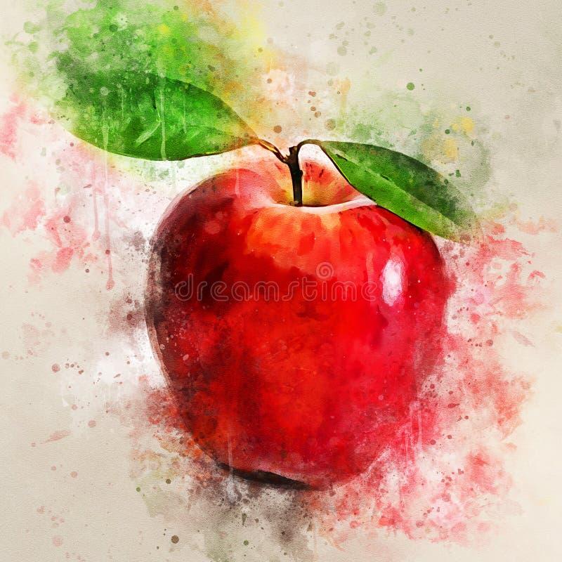 Ζωγραφική Watercolor των κόκκινων μήλων που απομονώνονται στο άσπρο υπόβαθρο διανυσματική απεικόνιση