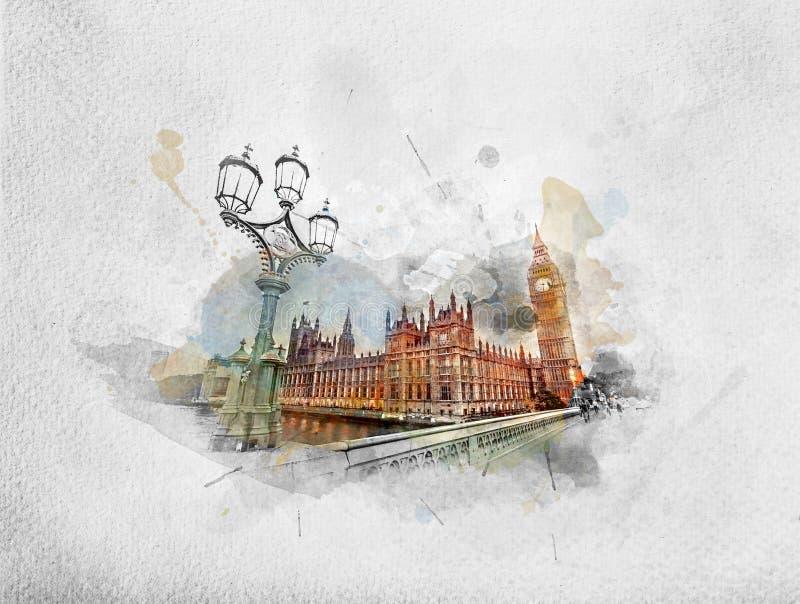 Ζωγραφική Watercolor Big Ben, Λονδίνο το UK ελεύθερη απεικόνιση δικαιώματος