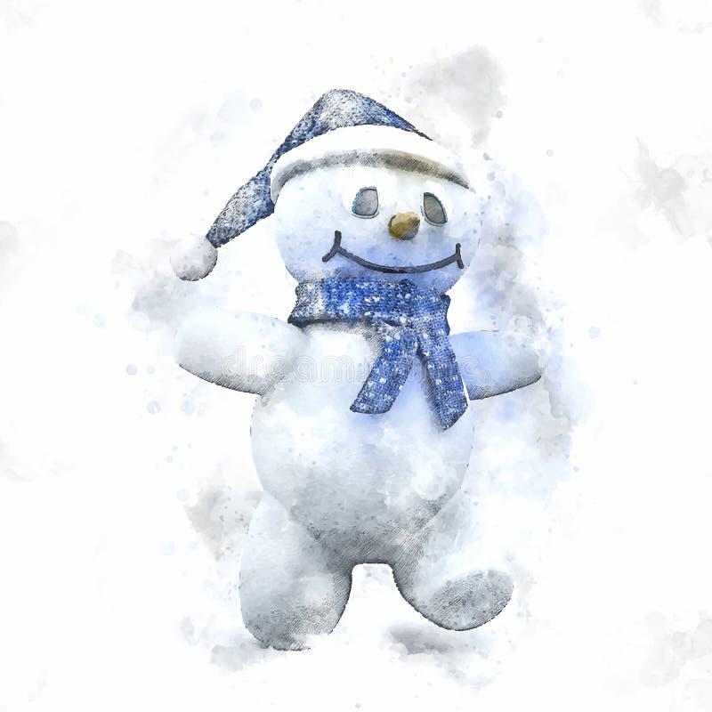 Ζωγραφική Watercolour του χαριτωμένου χιονανθρώπου Χριστουγέννων ελεύθερη απεικόνιση δικαιώματος