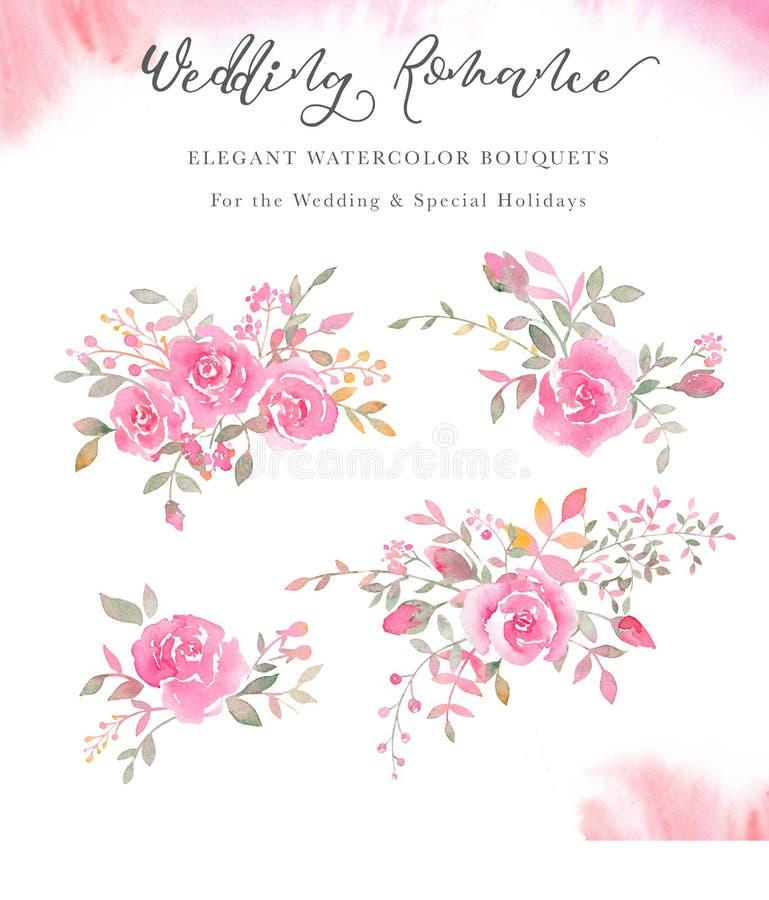 Ζωγραφισμένες στο χέρι ρυθμίσεις watercolor με τα ροδαλά λουλούδια, μπουμπούκια τριαντάφυλλου, απεικόνιση αποθεμάτων