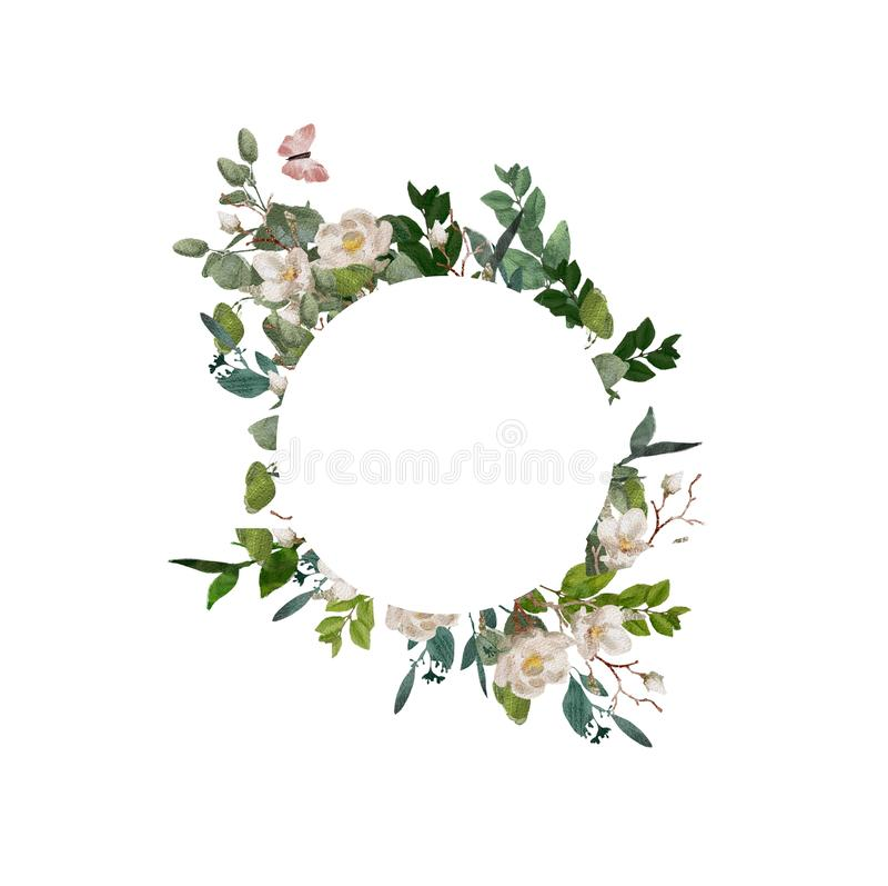 Ζωγραφισμένο στο χέρι floral στεφάνι watercolor στο άσπρο υπόβαθρο Στεφάνι, flor απεικόνιση αποθεμάτων