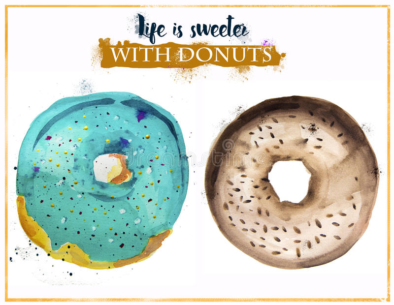 Ζωγραφισμένο στο χέρι watercolor donuts ελεύθερη απεικόνιση δικαιώματος