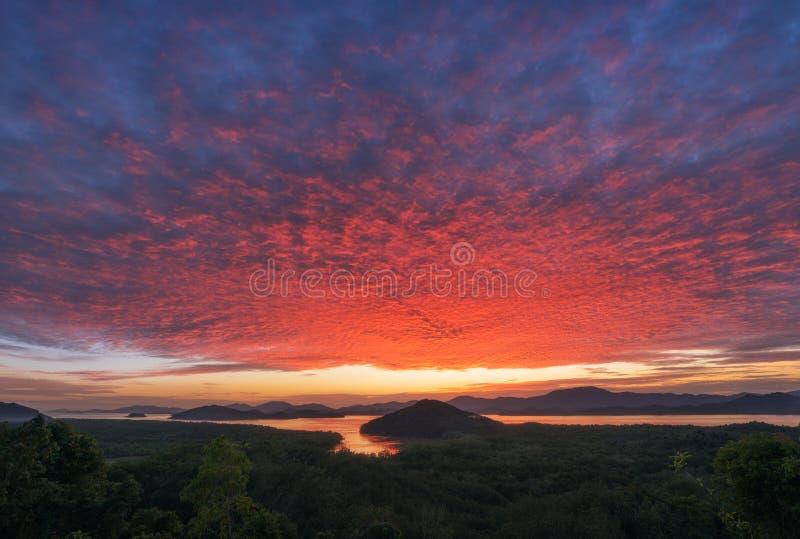 Ζωηρή ηλιοβασίλεμα ή ανατολή λυκόφατος πέρα από τη θάλασσα και το τροπικό δάσος, δάσος μαγγροβίων Φωτεινός δραματικός ουρανός Όμο στοκ φωτογραφίες