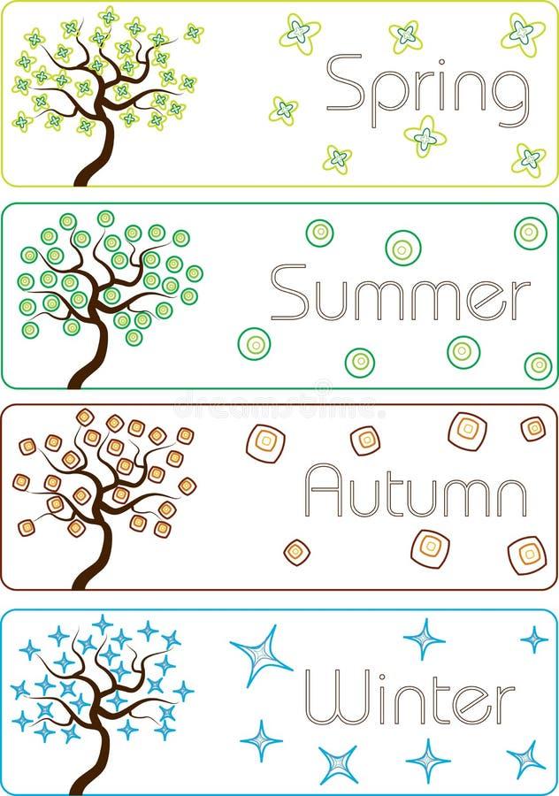 Ζωηρόχρωμα δέντρα εποχών κινούμενων σχεδίων διανυσματική απεικόνιση