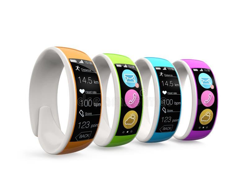 Ζωηρόχρωμα έξυπνα wristbands στο άσπρο υπόβαθρο απεικόνιση αποθεμάτων