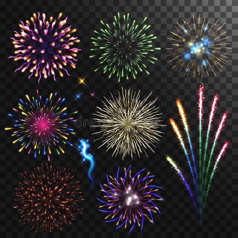 Ζωηρόχρωμα λαμπρά ρεαλιστικά πυροτεχνήματα καθορισμένα απεικόνιση αποθεμάτων