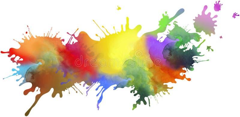 Ζωηρόχρωμα απομονωμένα σχέδιο και splatter υπόβαθρο χρωμάτων με το pai ελεύθερη απεικόνιση δικαιώματος