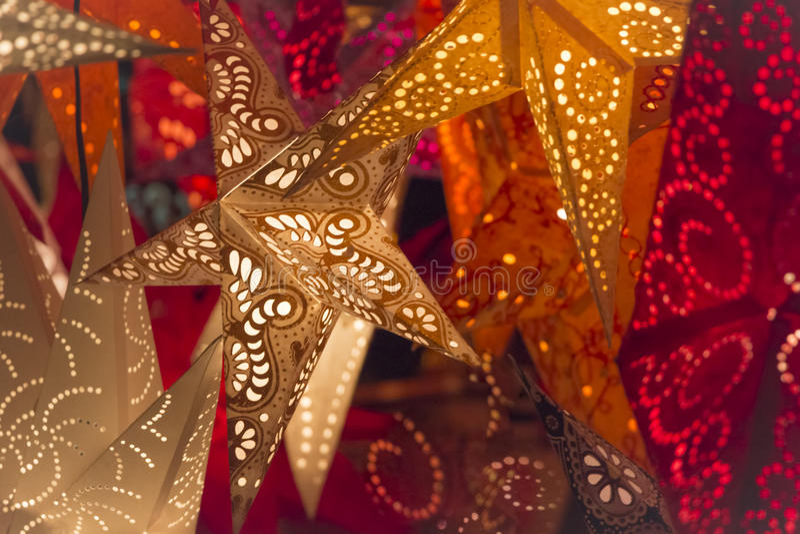 ζωηρόχρωμα αστέρια Χριστο& στοκ φωτογραφίες