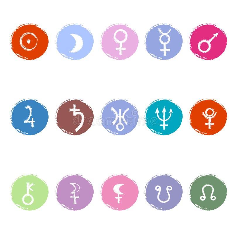 Ζωηρόχρωμα αστρολογικά σημάδια των πλανητών ελεύθερη απεικόνιση δικαιώματος