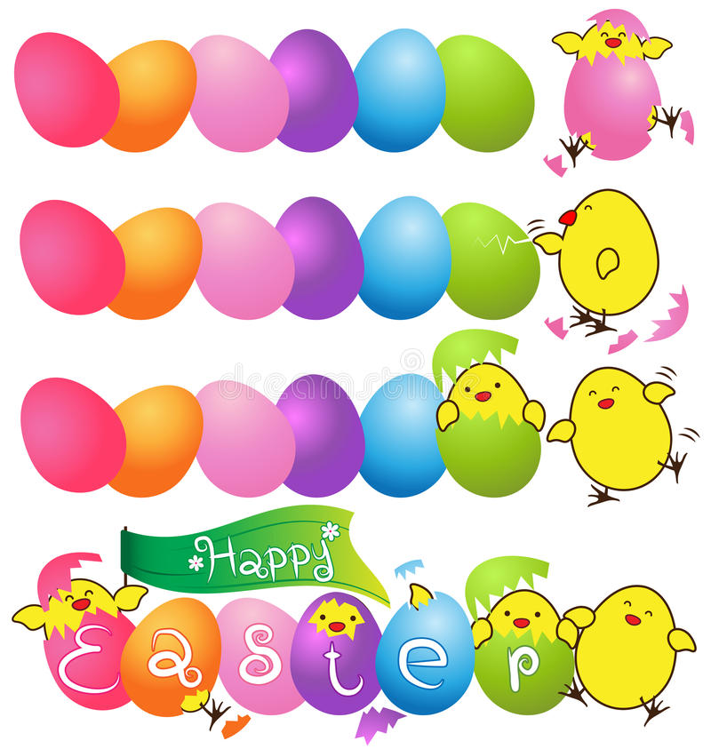 Ζωηρόχρωμα αυγά με το αστείο κοτόπουλο μωρών για την κάρτα ημέρας Πάσχας απεικόνιση αποθεμάτων
