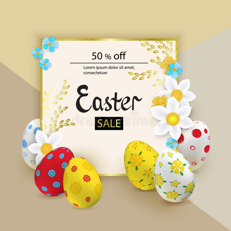 Ζωηρόχρωμα αυγά Πάσχας, άσπρα snowdrops στο μπεζ υπόβαθρο πορφυρά αστέρια γραμμών Πάσχας καρτών ανασκόπησης φωτεινά διανυσματική απεικόνιση
