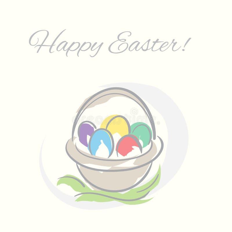Ζωηρόχρωμα αυγά Πάσχας σε μια συρμένη χέρι απεικόνιση καλαθιών στοκ εικόνες